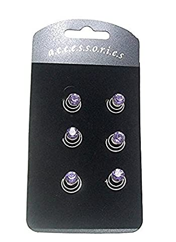 Set Of 6 Sparkly Purple Rhinestone Stone Silver Tone Bridal