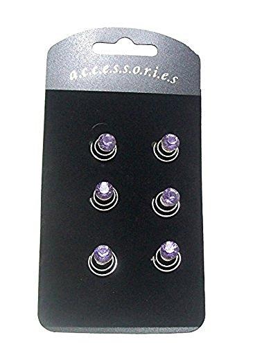 Set di 6scintillante viola strass pietra argento fermagli per capelli con spirale Coil Swirl Twists Pins