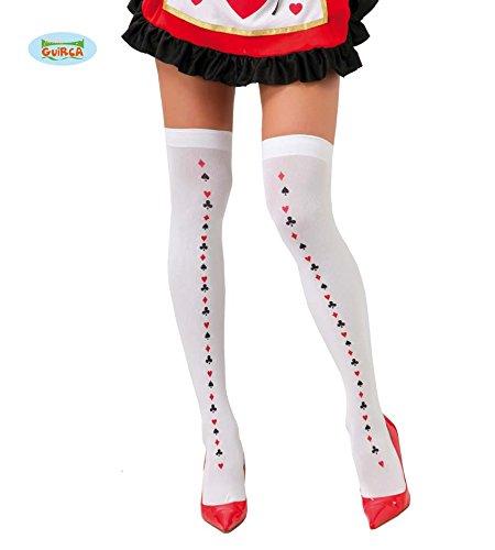 Fiestas Guirca GUI18375 - Spielkarten-Strumpfhosen (Spielkarte Herz Dame Kostüm)