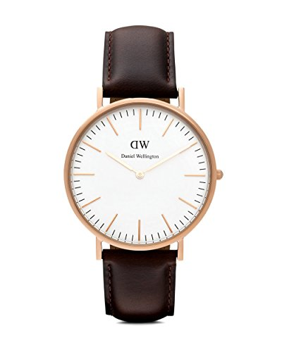 Daniel Wellington 0109DW hombre Classic Bristol analógica Display Reloj de cuarzo banda de cuero, marrón, redondo 40mm Caso