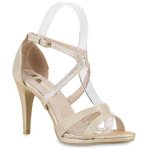 Damen Riemchensandaletten Sandaletten Stilettos High Heels Sommer Party Abiball Hochzeit Braut Schuhe 130259 Gold Glitzer Schnalle 40 | (Sexy Schuhe Gold Erwachsene)