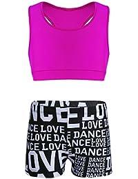 iixpin Tankini Niña Ropa Deportiva Chicas Ropa Danza con Lentejuelas Conjunto Top Camiseta Marga Corta y Pantalones Cortos Verano Rojo