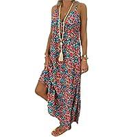 GAGA Women Strappy Holiday Beach Maxi Dress Sundress Boho Deep V-Neck Dress Red S