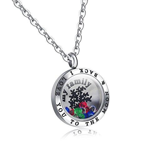 aimaoer Familienleben Baum Titan Stahl Anhänger Farbe Kristall Box Halskette, 1298-Anhänger + Passende Kette [Weiblich]