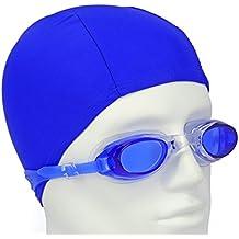 2 en 1 Gafas de Natacion y Gorro de Baño de Licra / Para Adulto Hombre o Mujer / Gorro de Natacion de Tela Spandex / Gafas de Piscina de Silicona con Lentes Anti-Vaho y Proteccion UV (Azul)