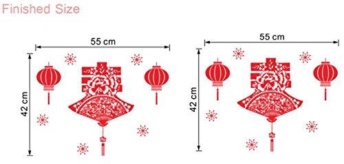 Traditionelle Chinesische Scherenschnitt Muster Wandaufkleber Wohnkultur Wohnzimmer Schaufenster Neujahr Wandtattoos Pvc Wandbild Kunst Poster 30 * 90 Cm