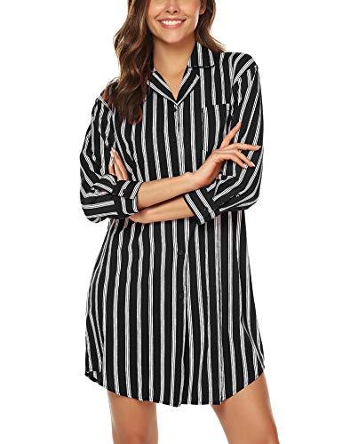 BESDEL Frauen Boyfriend Schlaf Hemd Kleid Gestreiftes Button Down Cotton Nachthemd Pyjama Duster Schwarz M Womens Duster