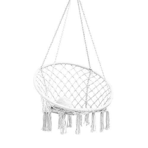 Makramee-Schwingen-Hängesessel, Baumwollhängeseil-Hängesessel im nordischen Stil für Schlafzimmer Wohnzimmer Leseraum Innen Außen Balkon Garten Terrasse