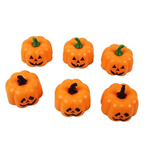 STOBOK LED Orange Kürbis Laternen-Halloween Flammenloses Nachtlicht für Halloween Bar Home Decoration, 12Packs