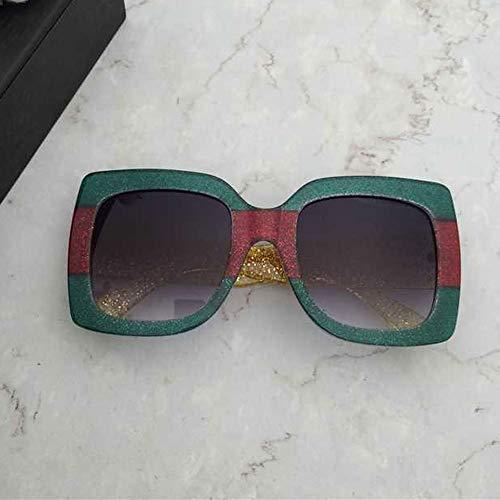 Wangwen Frauen übergroßen quadratischen Rahmen Sonnenbrille mehrere getönte Glitter Designer inspiriert stilvolle Shades S904 (Color : Green)