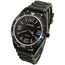 Alpine Unisex Armbanduhr Militär Grün Silikon Gummi Band Armee Stil Japanische Uhrenbewegung Analog