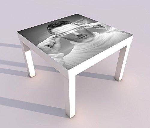 Design - Tisch mit UV Druck 55x55cm schwarz weiss Mann 3D Brille code Internet modern Spieler Spieltisch Lack Tische Bild Bilder Kinderzimmer Möbel 18A2907, Tisch 1:55x55cm