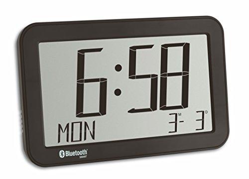 TFA Dostmann 60.4511.01 Bluetooth Weckuhr mit Raumklima, Kunststoff, Schwarz, 23 x 14.5 x 3.3 cm