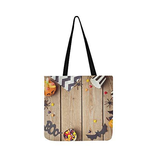 Halloween Urlaub Kürbis Candy View Canvas Tote Handtasche Schultertasche Crossbody Taschen Geldbörsen Für Männer Und Frauen Einkaufstasche
