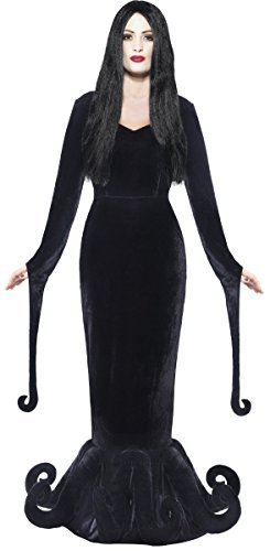 Damen Morbid Geliebte Morticia Gothic-hexe Ursula Octopus Halloween Kostüm Kleid Outfit 8-18 - Schwarz, 8-10