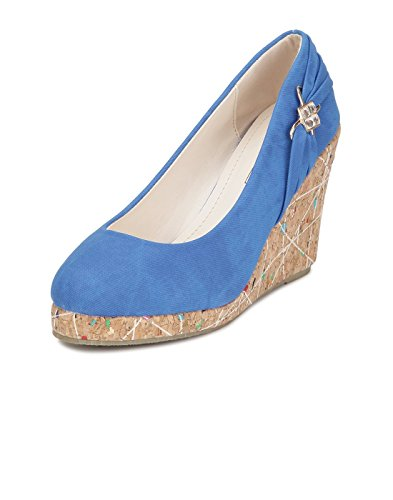 Yepme Women's Blue Synthetic Wedges