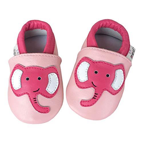 SXSHUN Zapatos Cuero Suave Bebé - Zapatos Primeros Pasos Bebé Niña - Zapatillas de Estar por Casa Primavera Bebé Niños, Elefante/Rosa, 0-6 Meses (Longitud Interna:11.5 cm)
