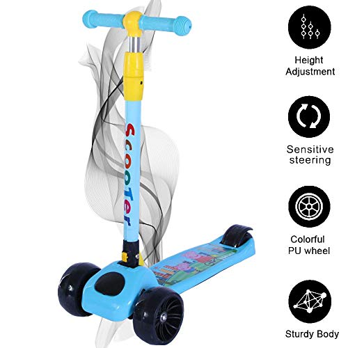 Smart Saver Scooter for Kids - The Smart Kick Scooter for Kids/Baby with Adjustable Height, Foldable LED PU Wheels - Blue