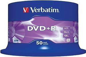 dvd: Verbatim 43550 -Pack de DVD+R vírgenes (50 unidades, 4.7 GB, 16x)