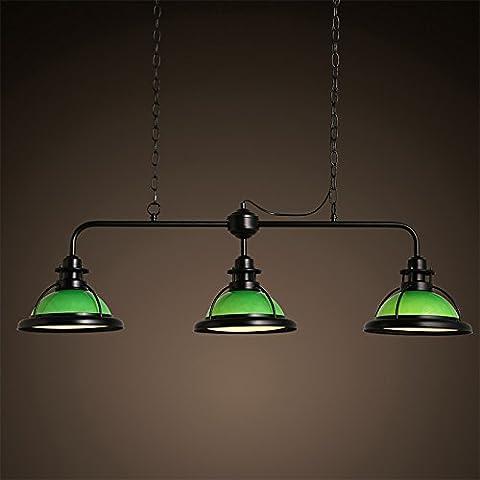 KHSKX Personalità creativa dell' industria americana tre paralume in vetro, lampadario soggiorno sala da pranzo e sala biliardo lampadario 1075*345mm , verde