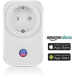 Smart Steckdose,Mopoin WLAN Steckdose Smart Wifi Steckdosen Intelligente Smart Funksteckdose Kompatible mit Amazon Alexa (Echo und Echo Dot) und Google Home App Steuerung für IOS und Android
