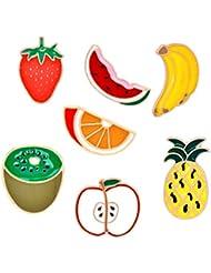 TENDYCOCO 7pcs Fruit pins food enamel lapel pin set badge corsage collar brooch pins alloy pins