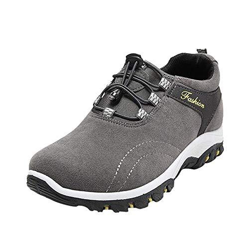 Baskets d'Extérieur Pour Homme Mode Hommes Bottes de Randonnée Chaussures de Randonnée Imperméables Flock Sneakers en Plein Air Sneakers de Resistencia (40, Gris)