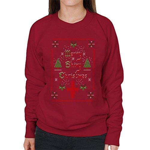 Firefly Merry Shiny Christmas Knit Pattern Women's Sweatshirt Cherry Red