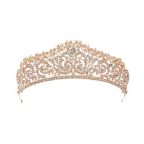 Fablcrew Die Tiara Strass Diadem Hochzeit Diadem Braut Brautjungfern Strass Kronen Stirnband Damen Schließe Haarspange 1 Stück(Gold)