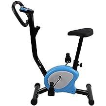 Homgrace Bicicleta Estática Plegable para Fitness con Magnético, Max del Usuario Hasta 100 kg Naranja