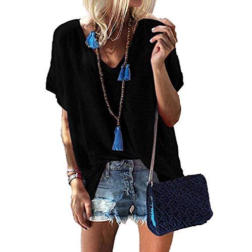 Yutila Damen Sommer T-Shirt V-Ausschnitte Loose Oversize Shirt Oberteile