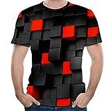 UJUNAOR Paar Frühling Sommer Lässig 3D-bedrucktes Kurzärmliges Shirt Basic T-Shirt(Schwarz,CN L)