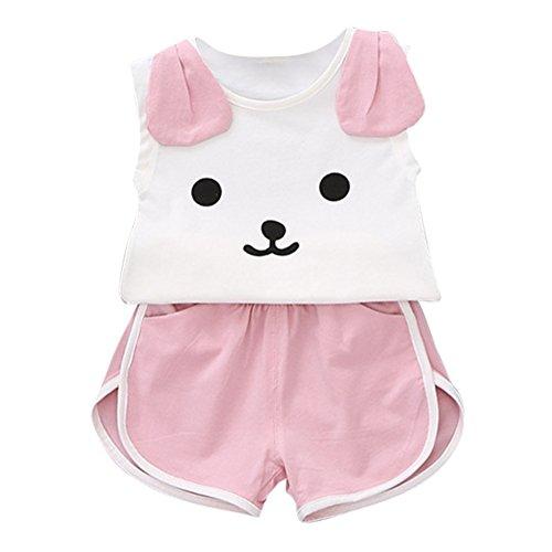 Baywell Baby Mädchen Kleidung Sets Niedlichen Hund Druck Sleeveless Top + Kurze Hosen Outfits (L/1-2 Jahre) - Hund Mädchen-kleidung Kleiner
