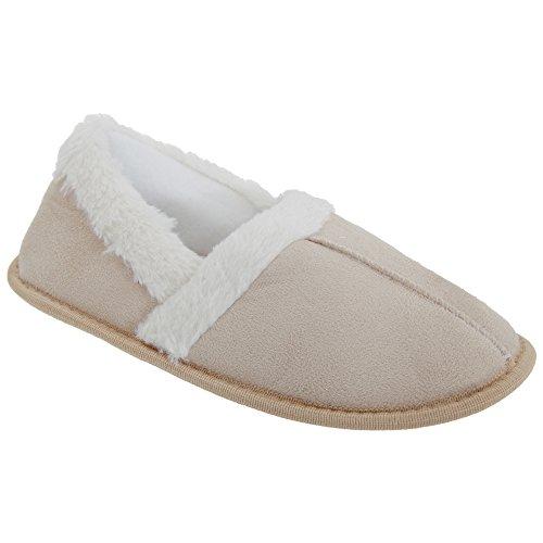 Pantofole con Cuciture a Vista e Foderate in Pelliccia - Donna Beige