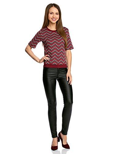oodji Collection Damen Jacquard Sweatshirt mit Zickzack-Muster Rot (294DS)