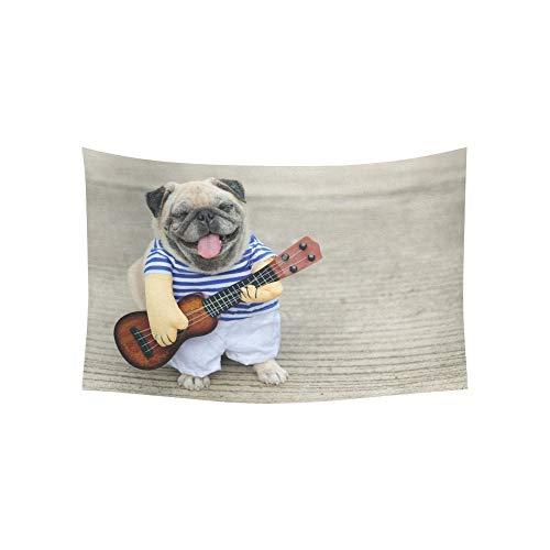 Musiker Kostüm Große - Wandteppich Indy Musiker Gitarrist Mops Hund lustige Mops Wandteppiche Wandbehang Blume psychedelischen Wandteppich Wandbehang indischen Wohnheim Dekor für Wohnzimmer Schlafzimmer 60 X 40 Zoll