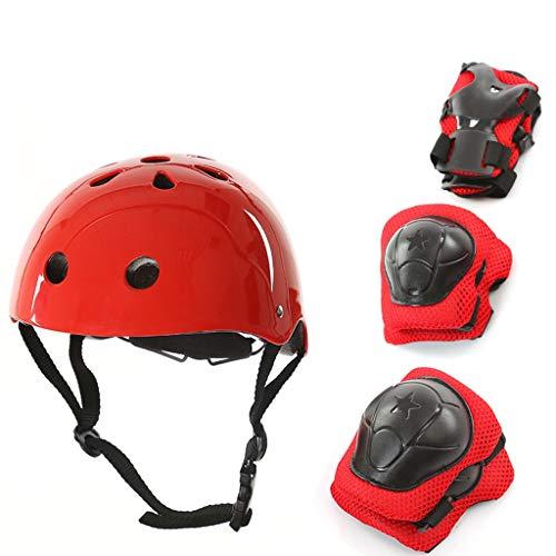 JBHURF Kinderhelm Protektoren Set Roller Skating Fahrrad Gleichgewicht Sicherheit Hut Voll Skateboard Skates Knieschützer (Farbe : Red)