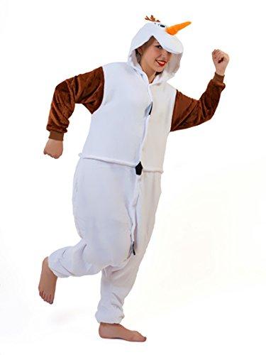 Unisex Snowman Olaf Frozen Onesie Kigurumi Pyjama Karneval Kostüm Maskenkostüm Kapuzenpulli Schlafanzüge XL(Height (Frozen Herren Kostüm)