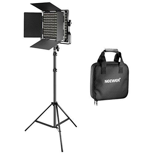 Neewer Bi-Farbe 660 LED Video Lichtstand Set beinhaltet: (1) 3200k-5600K CRI 96+ Dimmabre Licht mit U Halterung und Scheunentor, (1) 78,7 Zoll Lichtstand für Studio Fotografie Video -