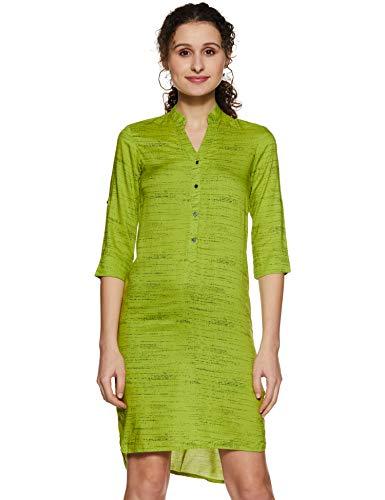 Park Avenue Woman A-Line Dress (PWEA00552-N4_Medium Green_76)