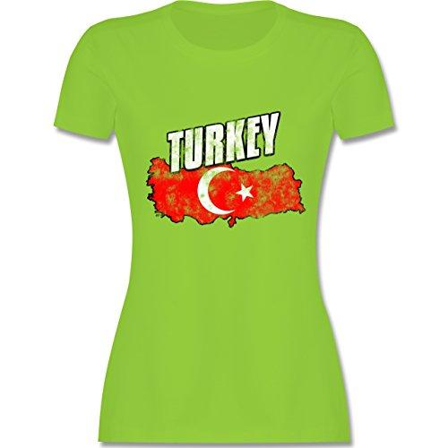 Länder - Turkey Umriss Vintage - tailliertes Premium T-Shirt mit  Rundhalsausschnitt für Damen Hellgrün