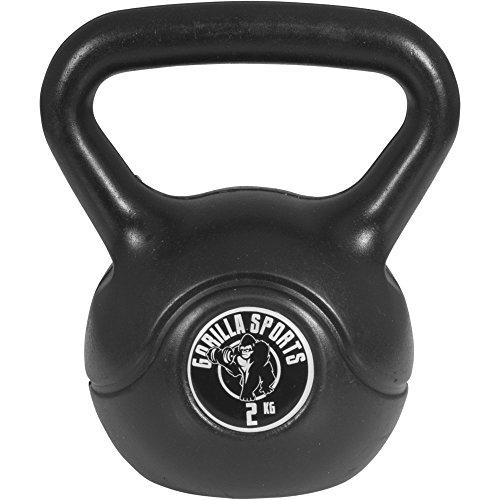 Gorilla Sports Erwachsene Kettlebell Kunststoff, schwarz, 2 kg, 10000342