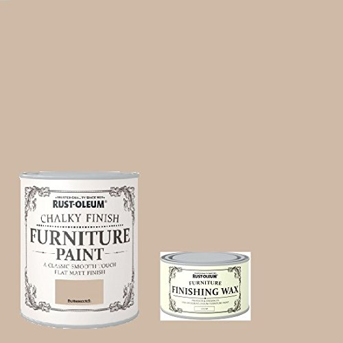 Price comparison product image Rust-Oleum Chalk Butterscotch Matt Finish Furniture Paint 750ml Plus Furniture Wax