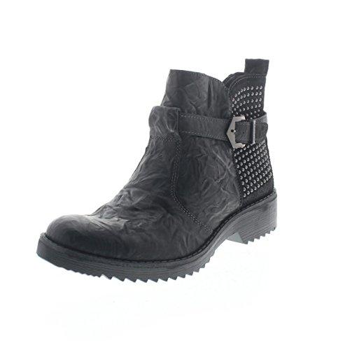 IGI & CO 68060 Schwarze Frau Schuhe Ankle Boots Reißverschluss Leder Nieten Schnalle 40 (Co-leder Ankle Boot)