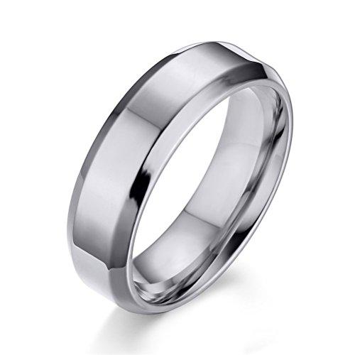 Vnox 6 millimetri delle donne degli uomini unisex in acciaio inox Eternity semplice fidanzamento promessa anello della fascia