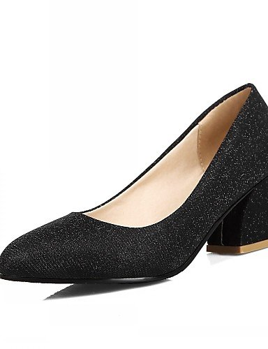 WSS 2016 Chaussures Femme-Bureau & Travail / Habillé / Décontracté-Noir / Argent / Or-Gros Talon-Talons-Talons-Similicuir black-us5.5 / eu36 / uk3.5 / cn35
