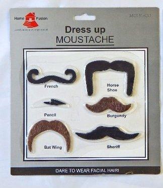 6x verschiedene Verkleidungen Fancy Kleid Fake Schnurrbart Hirsch Party selbstklebend