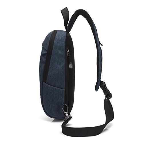 Herren Schlinge Kreuz Körper Tasche Brust Schulter Gym Rucksack Sack Satchel mit Kopfhörer Kabelloch - Schwarz1 Königsblau1