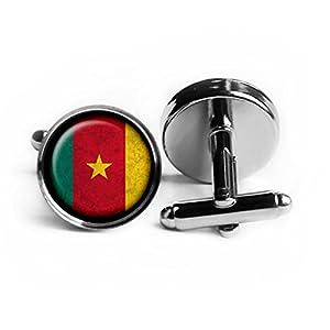 African Nation Cameroon Flag Afrikanische Nation Kamerun Flagge Rhodium Silber Manschettenknöpfe