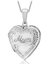 """Tuscany Silver Sterling Silver Heart Engraved Edge """"Mum"""" Locket Pendant on Curb Chain of 46cm/18"""""""
